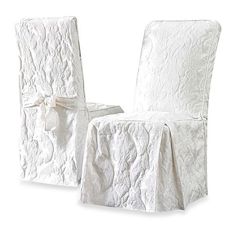 Buy Sure Fit 174 Matelasse Damask Long Dining Chair Cover In White Dining Chair Cover