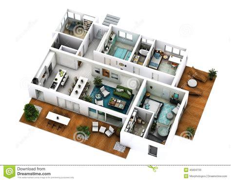 3d Floor Plan Stock Photo   Image: 45834733