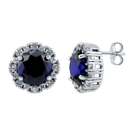 berricle 925 silver simulated blue sapphire cubic zirconia cz halo stud earrings ebay
