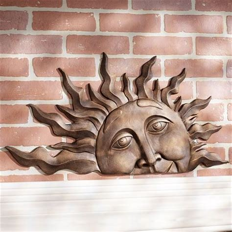 half sun face indoor outdoor metal wall plaque art