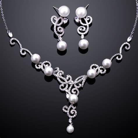 tread aaa cubic zirconia pearl necklace earrings