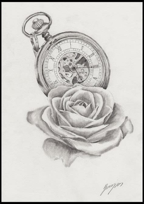 pocketwatch and rose tattoo by bradillustration on deviantart