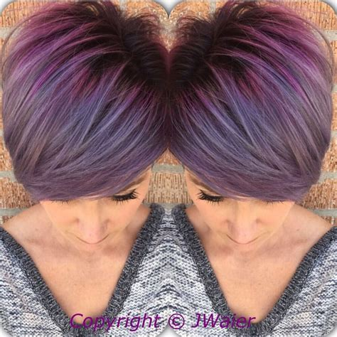 what hair color goes best with a pixie cut perfect purple hair color and crop cut by jamie waier
