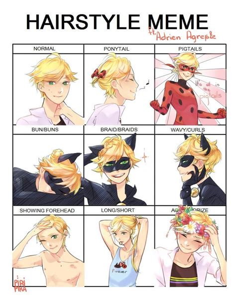 haircut graphic story hairstyle meme featuring adrien miraculous ladybug