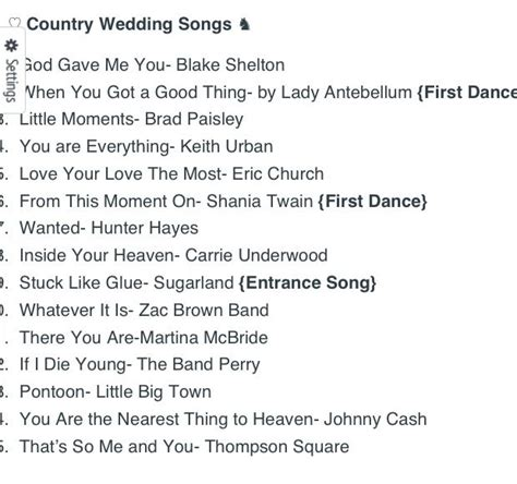 Wedding Song List Country by Top 15 Country Wedding Songs Wedding