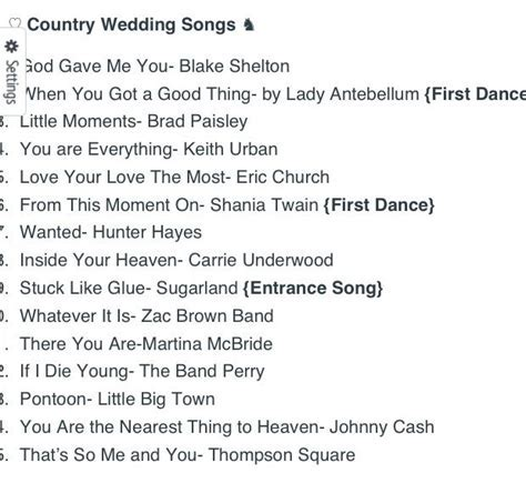 Top 15 Country Wedding Songs   Wedding   Pinterest