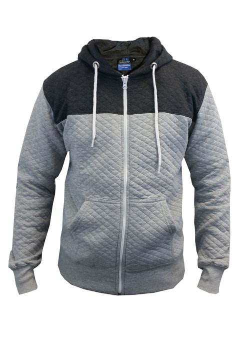 Mens Quilted Hoodie by New Mens Shoulder Patched Hoodie Quilted