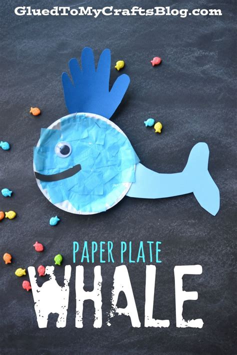 Paper Plate Whale Craft - whale of a time cup craft glued to my crafts