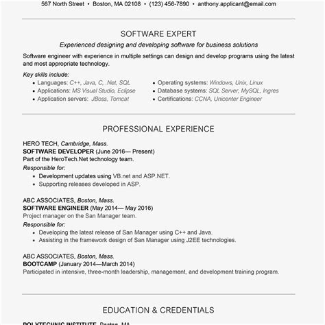 resume format forear experienced java developer best of cosy