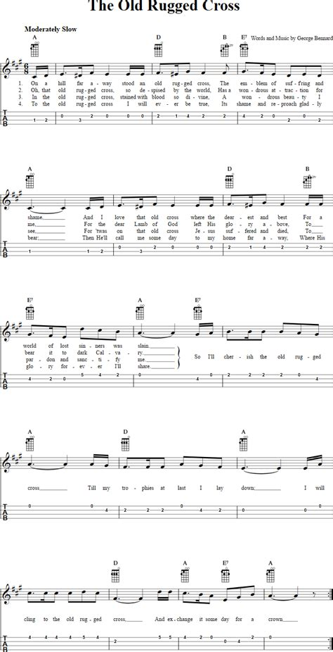 rugged cross tab the rugged cross chords sheet and tab for ukulele with lyrics