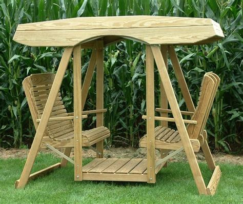 amish pine double lawn swing glider  canopy