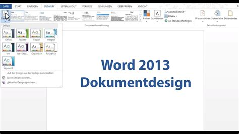 youtube tutorial office 2013 word 2013 dokumentdesign youtube