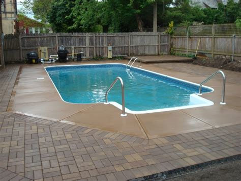 pool deck pavers paver brick pool deck with brown concrete and pavers