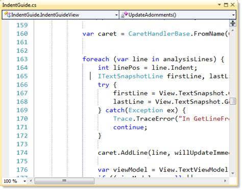 visual pattern image coding automatically code indent in visual studio 2012 and 2010