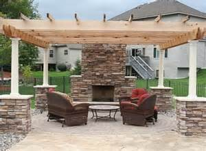Pergola With Fireplace by Best For Study Tuscan Style Backyard Landscaping Pictures