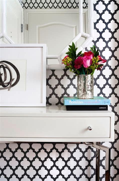 black and white lattice wallpaper black and white trellis wallpaper contemporary den