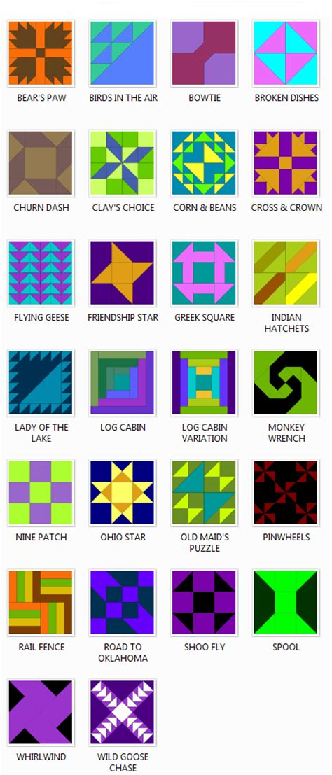 Quilt Pattern Names List by Traditional Patchwork Quilt Block Patterns