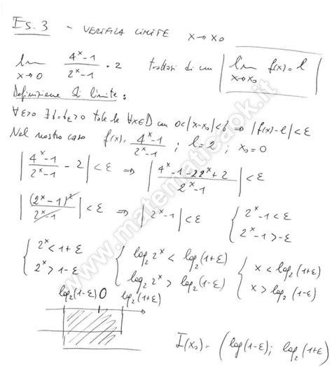 limite finito per x tende a un valore finito esercizio 3 verifica limite per x tende ad un