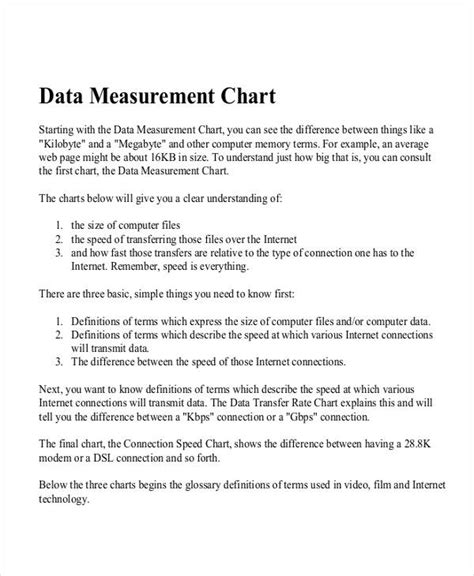 measurement chart examples samples   examples
