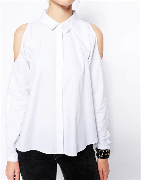Sleeve Cold Shoulder Shirt asos cold shoulder sleeved shirt in white lyst
