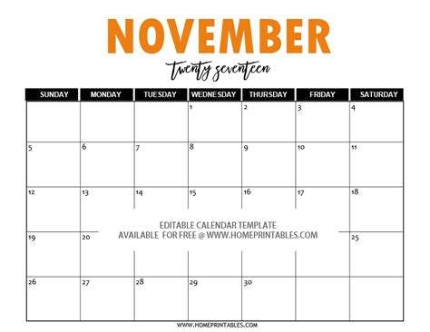 Calendar Template November 2017 Editable Free Editable 2017 Calendar In Word Pretty Template