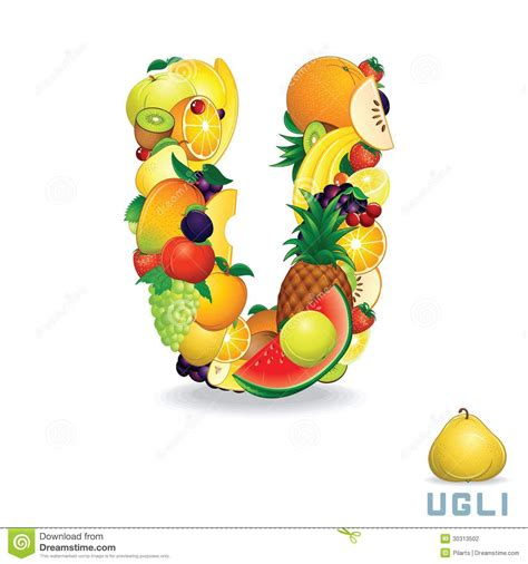 u fruity alphabet de vecteur de fruit lettre u photographie stock