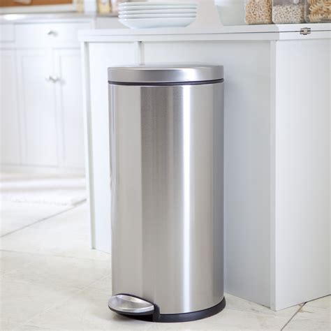 Simplehuman 174 Round Brushed Stainless Steel Step 8 Gallon Trash Cans For Kitchen