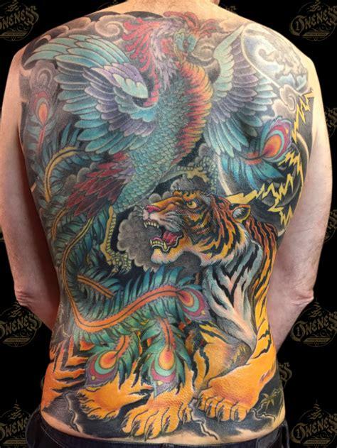 phoenix yakuza tattoo japanese tiger and phoenix backpiece tattoo by darko