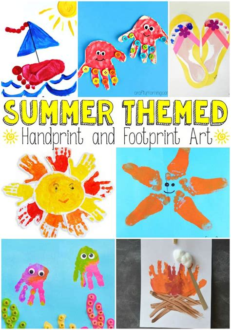 summer themes summer themed handprint and footprint art easy peasy and fun