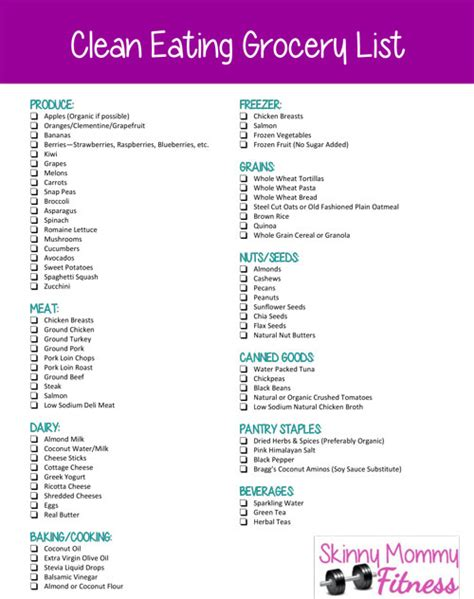 printable clean eating shopping list 6 best images of weight watchers shopping list printable