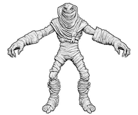 mummy front view  coloring page  print