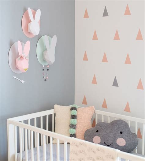 Decorating Ideas For Nursery Rooms Triangle Wall Design Gender Neutral Baby Room Home