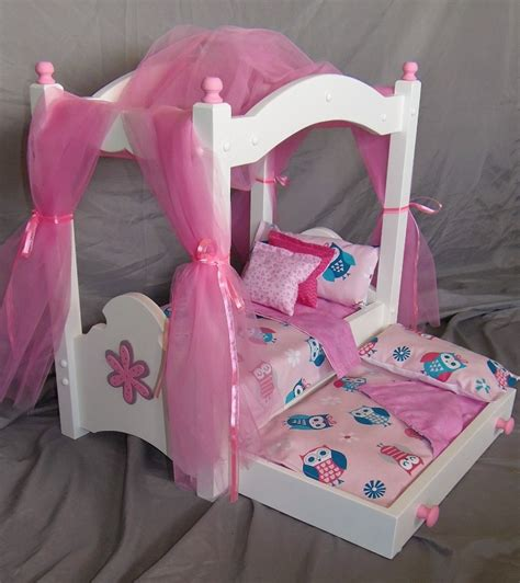 american girl doll canopy bed american girl doll doll canopy bed and trundle in our new