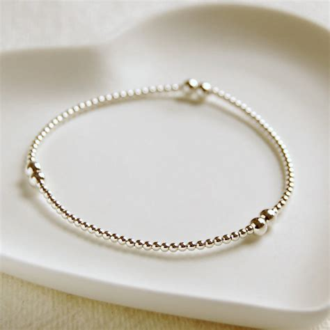 delicate sterling silver bead bracelet by highland