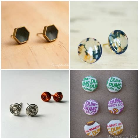 how to make sted jewelry 20 diy stud earring tutorials mad in crafts