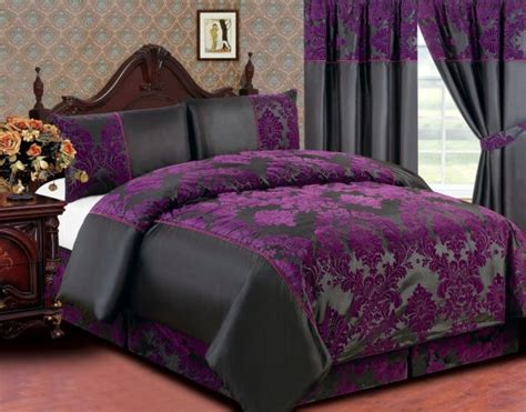 Duvet Cover Set King Bedroom Luxury Classic Queen Size Bed With Deep Purple