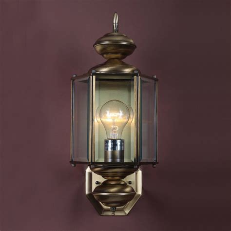 Solid Brass Outdoor Lighting Shop Volume International 17 5 In H Antique Solid Brass Outdoor Wall Light At Lowes