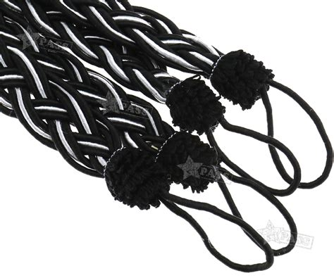 black rope curtain tie backs pair of braided tiebacks tie back rope curtains holdbacks
