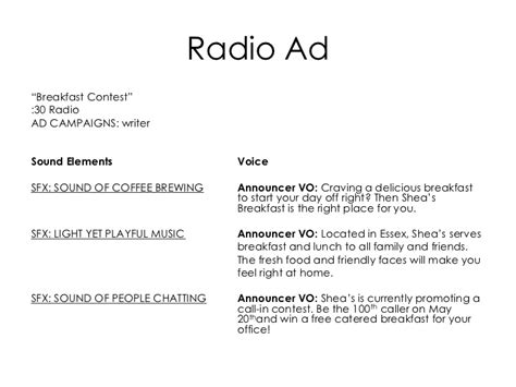 radio script template shea s restaurant advertising caign 2011