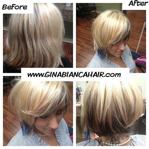 bleach blonde hair with low lights short style bleach blonde with blue extensions and dark lowlights