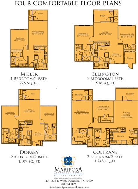 colony homes floor plans mariposa apartment homes at bay colony 55 dickinson tx