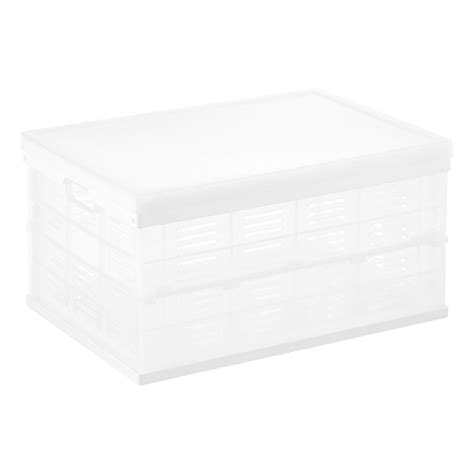 white crate white collapsible crate with clear lid the container store