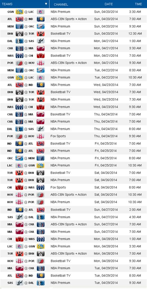 Mba Playoff Tv Schedule by 2014 Nba Playoffs Tv Schedule Nungo