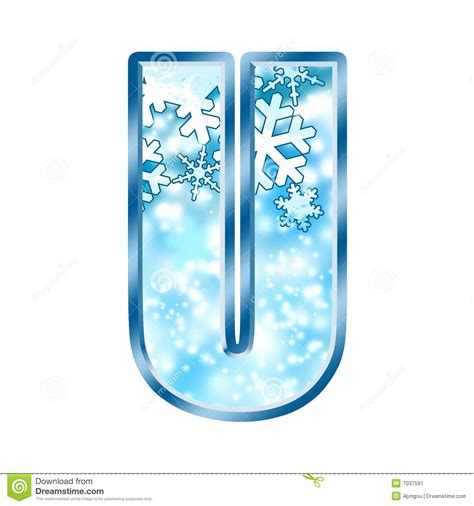 up letter with snow winter alphabet letter u stock illustration image of font