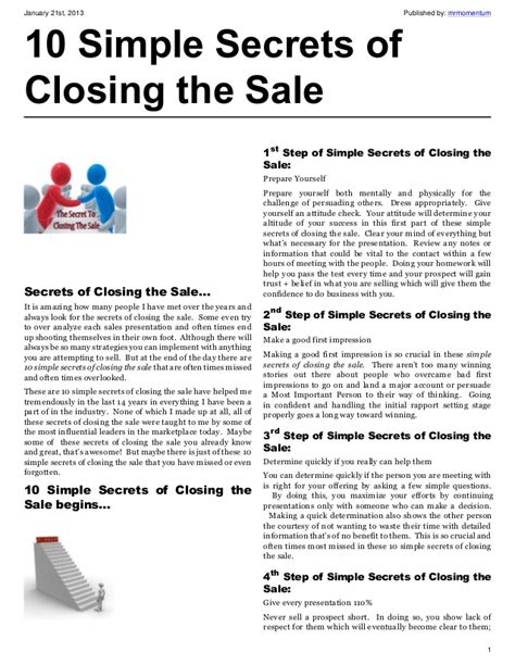 E Book Secrets Of The Best Chefs 10 simple secrets of closing the sale