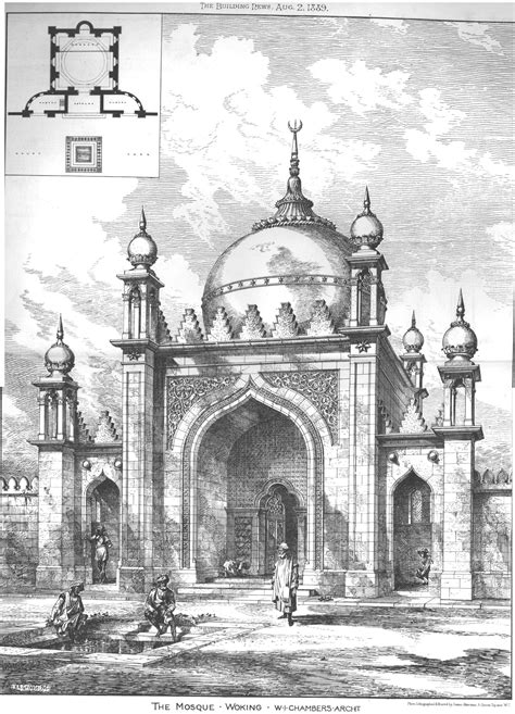 Mosque Drawing by Woking Mosque Architect S Drawing 1889