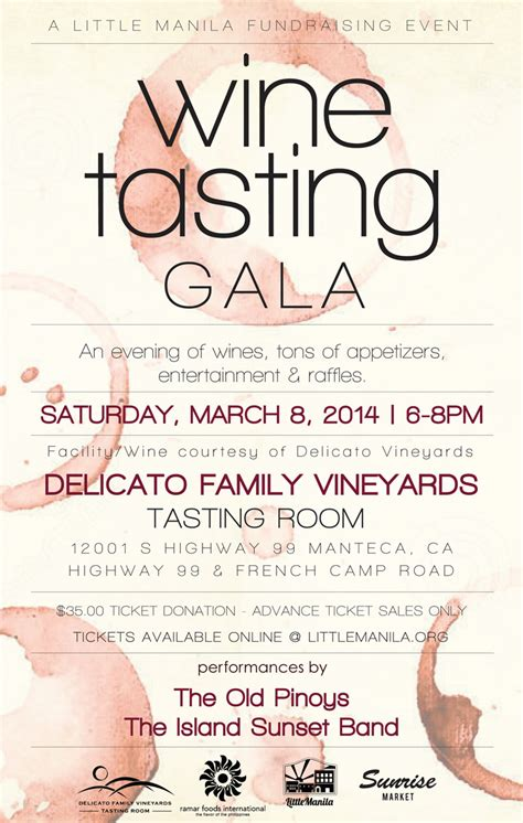 8th Annual Wine Tasting Gala On March 8th Little Manila Foundation Wine Tasting Event Flyer Template Free