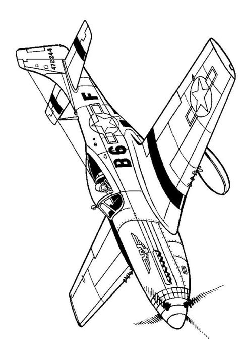 P 51 Mustang Coloring Pages by N 46 Coloring Pages Of Wwii Aircrafts