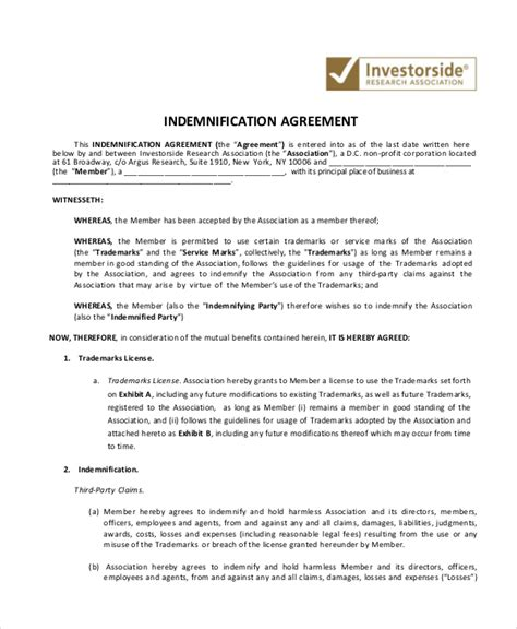 indemnity agreement template 10 indemnity agreements free sle exle format