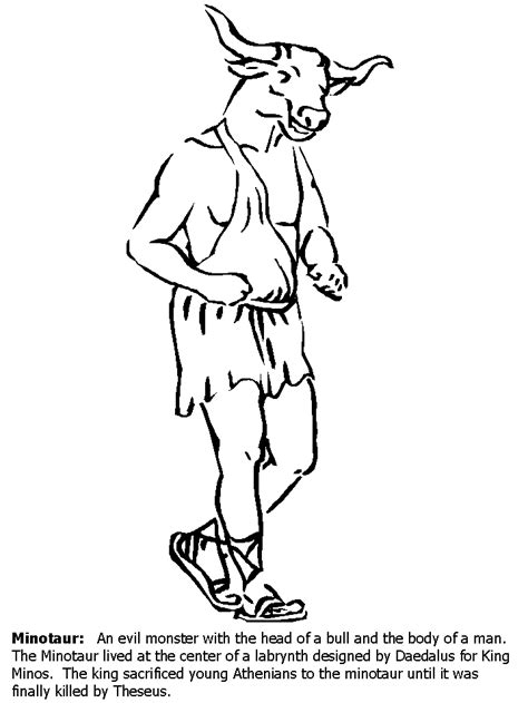 Greek Gods Coloring Pages Coloring Home Minotaur Coloring Pages